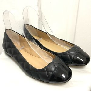 Ann Taylor Black Flats 6.5 Quilted Leather